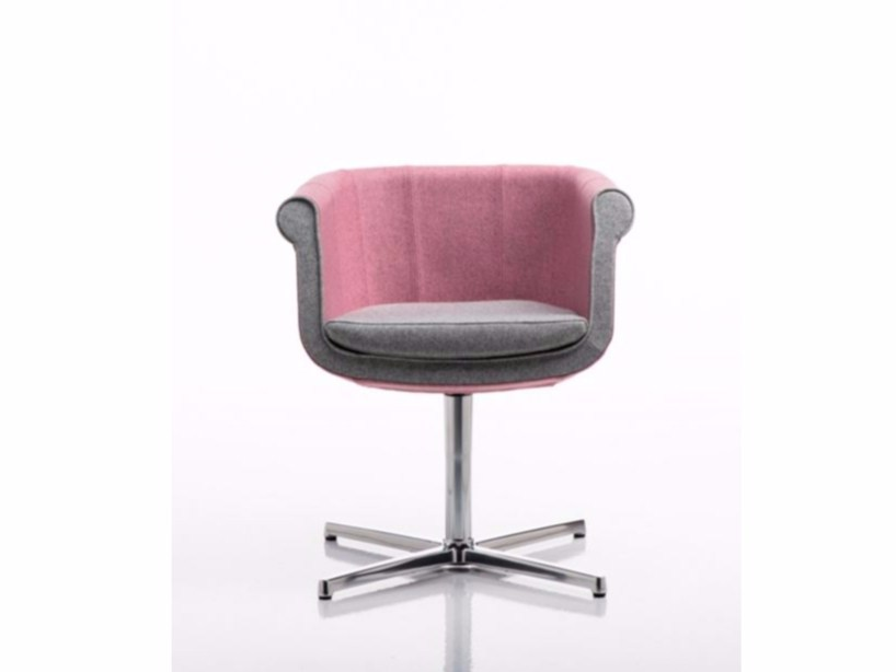 Fabric easy chair with 4-spoke base with armrests LIZ | Easy chair - D.M.