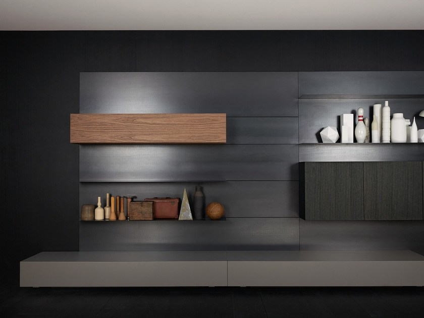 parete attrezzata fissata a muro modern load it by porro design piero lissoni. Black Bedroom Furniture Sets. Home Design Ideas