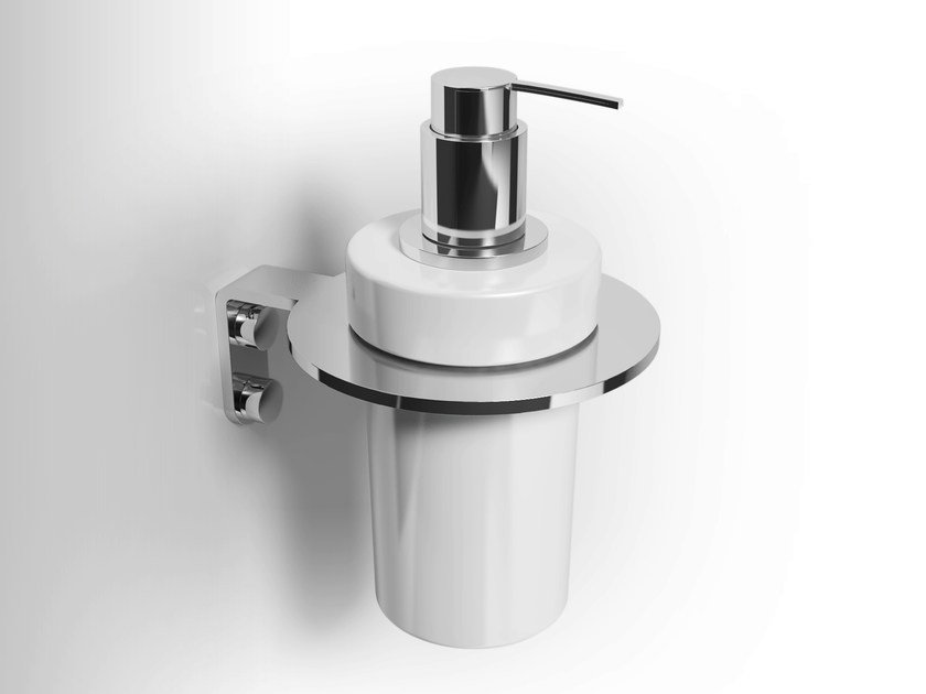 Wall-mounted ceramic liquid soap dispenser LOBELIA INOX | Liquid soap dispenser - Alna