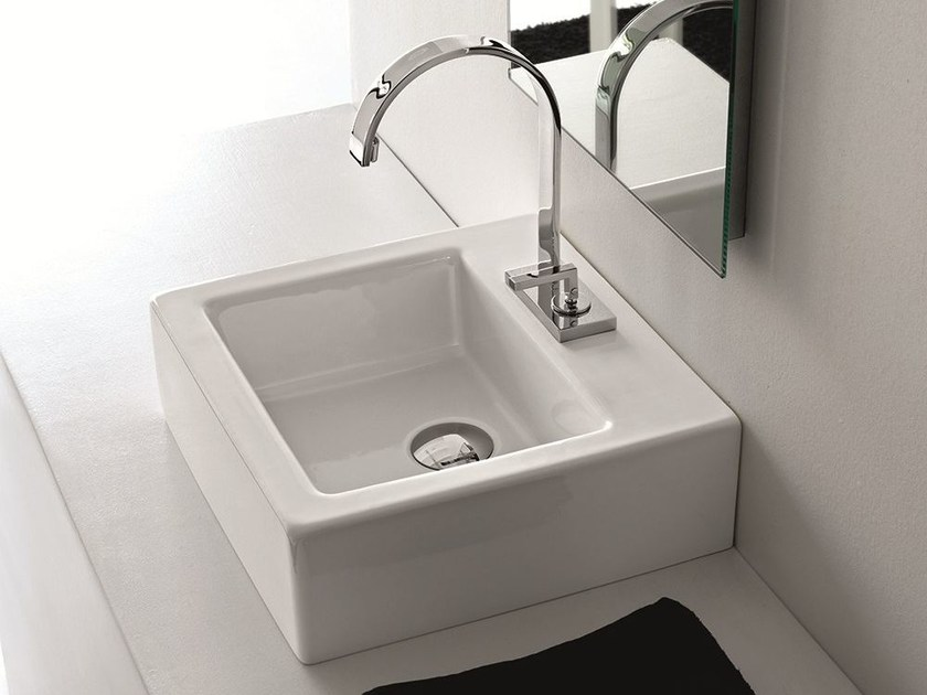 Countertop square ceramic washbasin LOFT | Square washbasin - Hidra Ceramica
