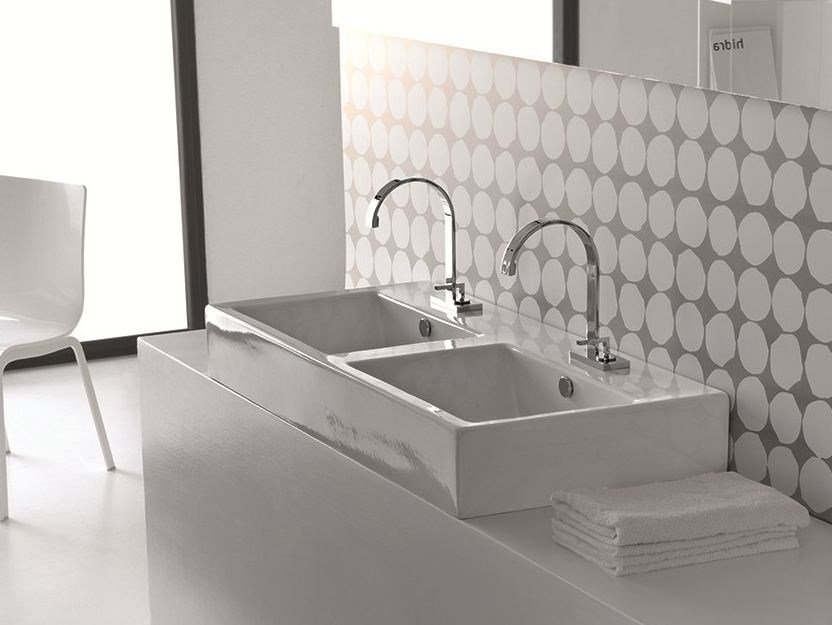 Countertop ceramic washbasin LOFT | Double washbasin - Hidra Ceramica