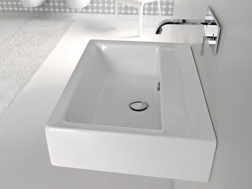Wall-mounted ceramic washbasin LOFT | Single washbasin - Hidra Ceramica