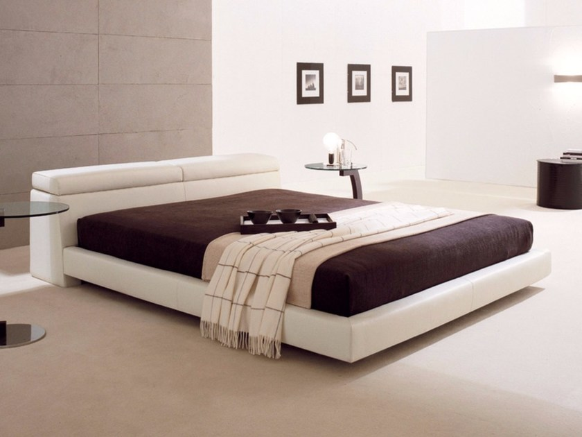 Upholstered double bed with storage headboard LOGAN - Cattelan Italia