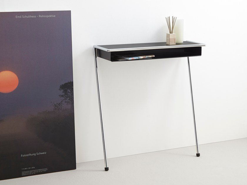Rectangular powder coated steel console table LOLA - MOX