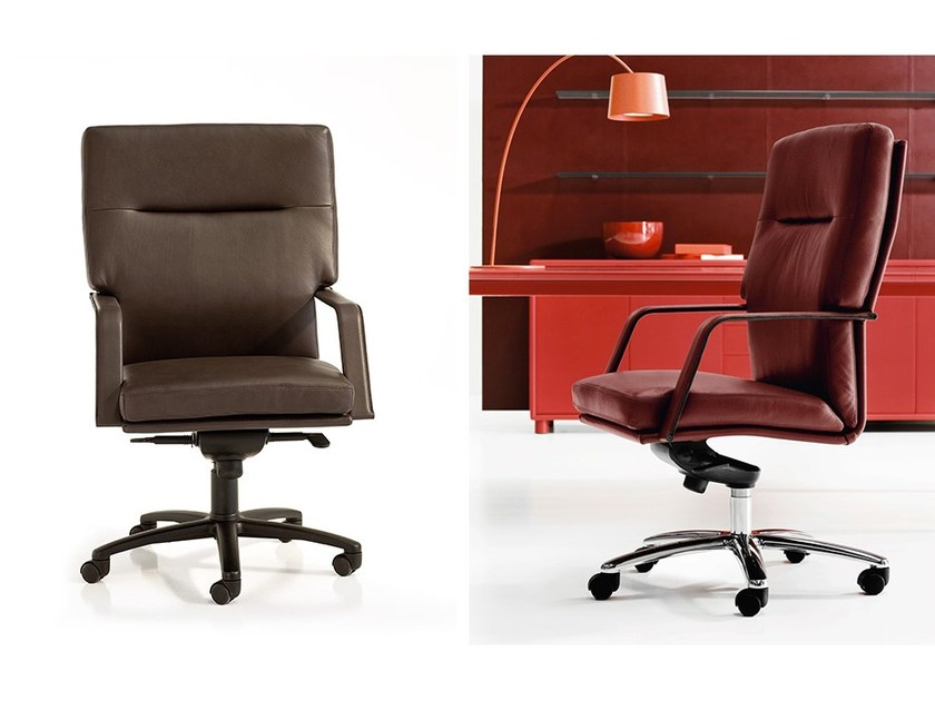 Leather executive chair with armrests with casters LONDON | Executive chair by Polflex