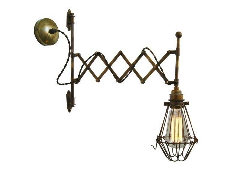 Handmade adjustable brass wall lamp LONN SCISSOR CAGE WALL LIGHT - Mullan Lighting