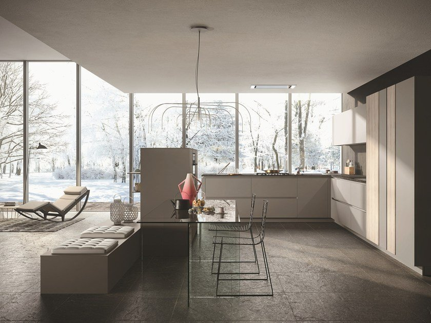 Lacquered wooden kitchen with peninsula LOOK | Lacquered kitchen by Snaidero