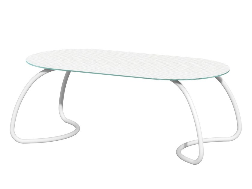 Contemporary style oval tempered glass garden table LOTO DINNER - Nardi