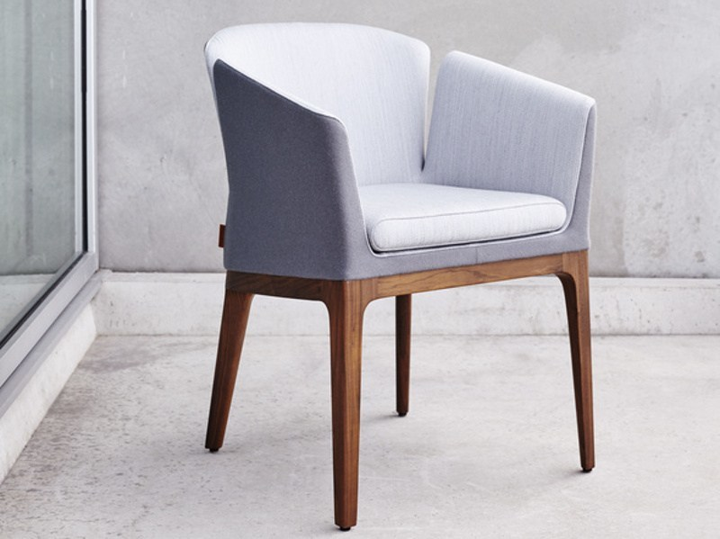 Upholstered fabric chair with armrests LOTUS M - Montis