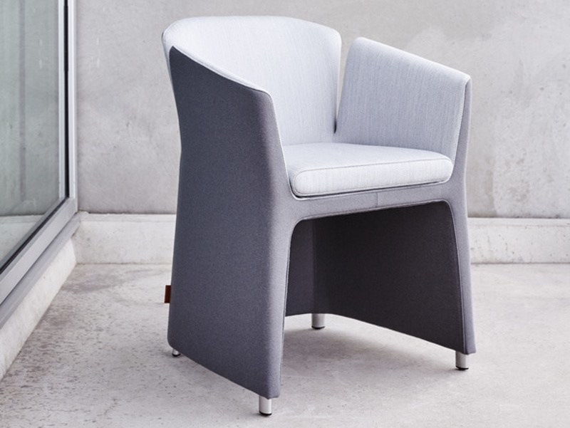 Upholstered fabric chair with armrests LOTUS - Montis
