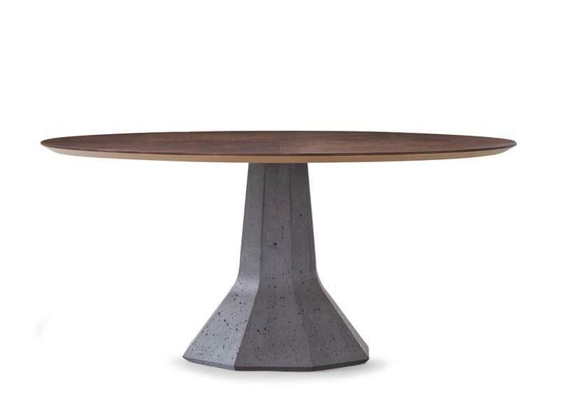Round oak table LOTUS | Round table - Potocco