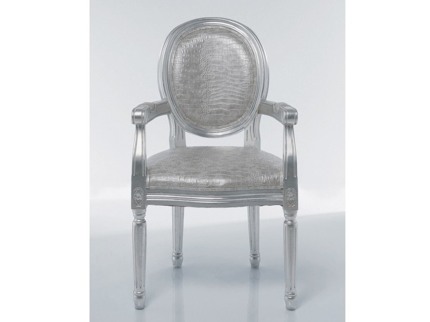 Medallion upholstered easy chair with armrests LOUIS CROCO ANTIQUE - KARE-DESIGN