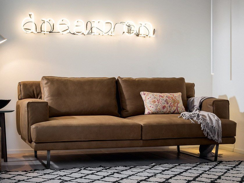 3 seater leather sofa LOUIS - Dall'Agnese
