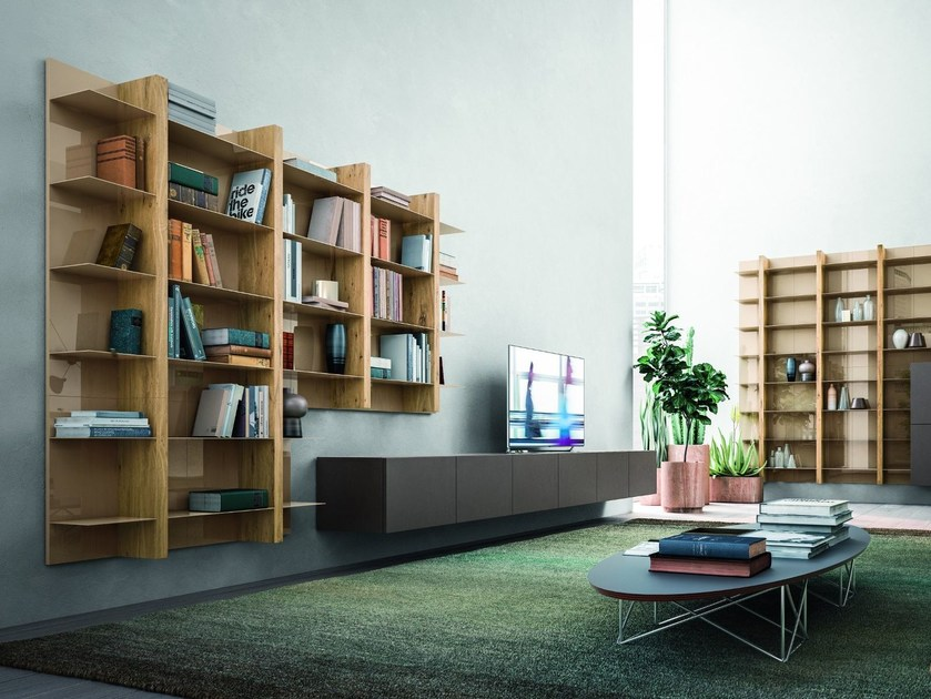 Sectional wall-mounted storage wall LOUNGE | Storage wall by Composit