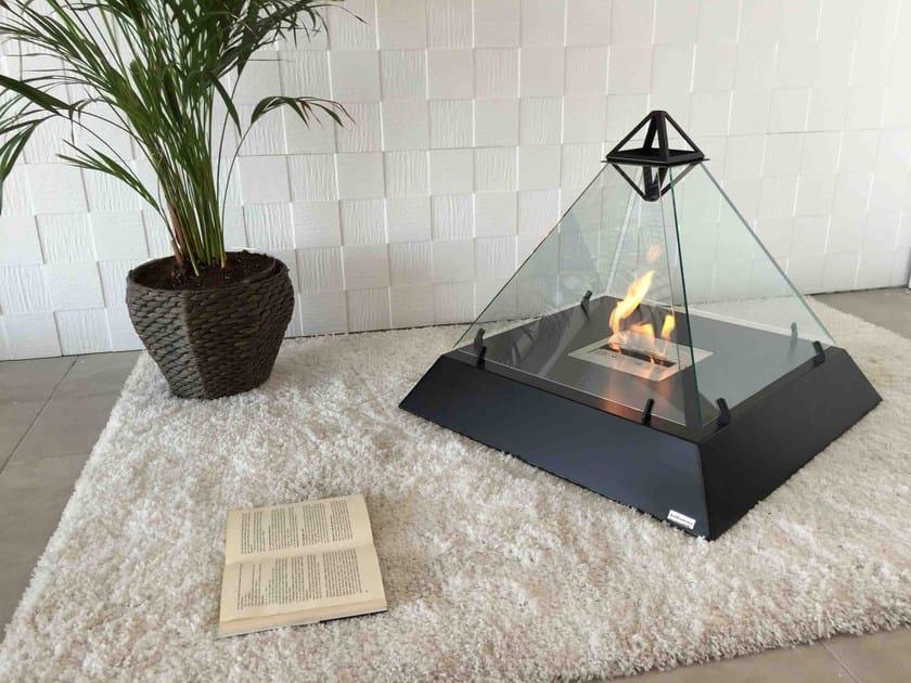 Freestanding fireplace with panoramic glass LOUVRE - bioKamino by CAR-Z-MET