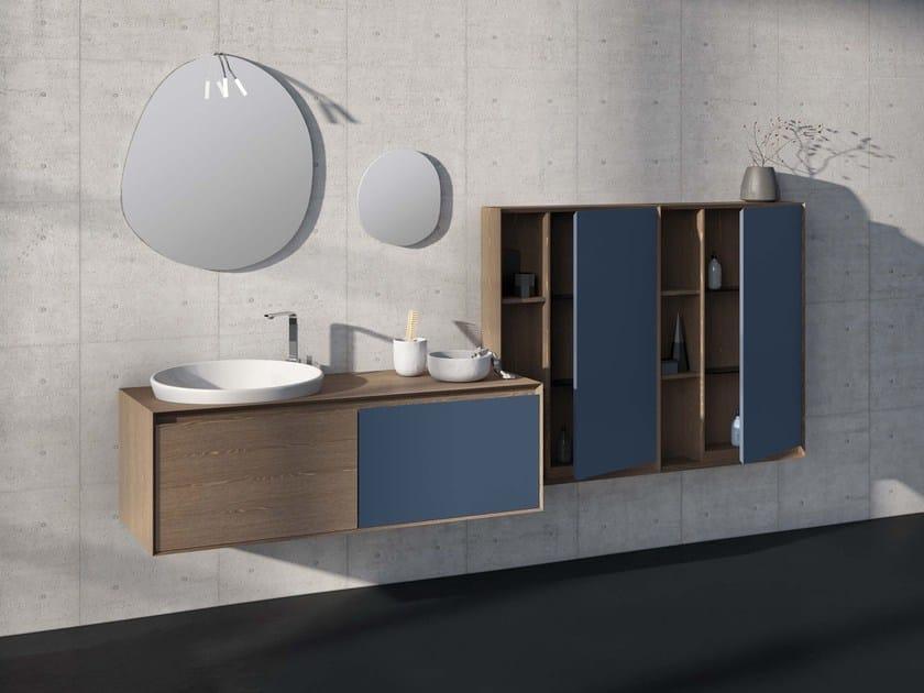 Wall-mounted elm vanity unit LU.34 by Mobiltesino