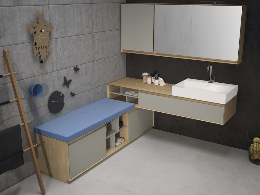 Elm vanity unit with mirror LU.35 by Mobiltesino