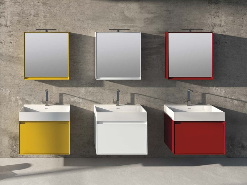 Lacquered wall-mounted vanity unit LU.36 by Mobiltesino