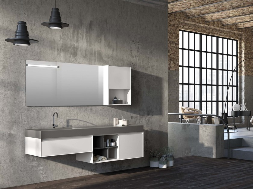 Lacquered wall-mounted vanity unit LU.43 by Mobiltesino