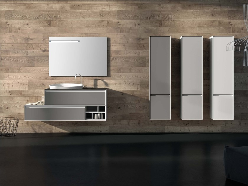 Lacquered wall-mounted vanity unit LU.50 by Mobiltesino