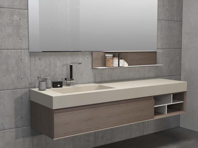 Wall-mounted elm vanity unit LU.51 by Mobiltesino