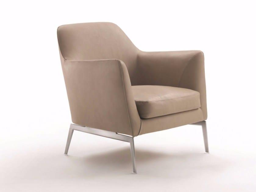 Leather armchair with armrests LUCE | Armchair - FLEXFORM