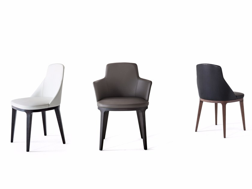 Upholstered leather chair with armrests LUCY - Lema
