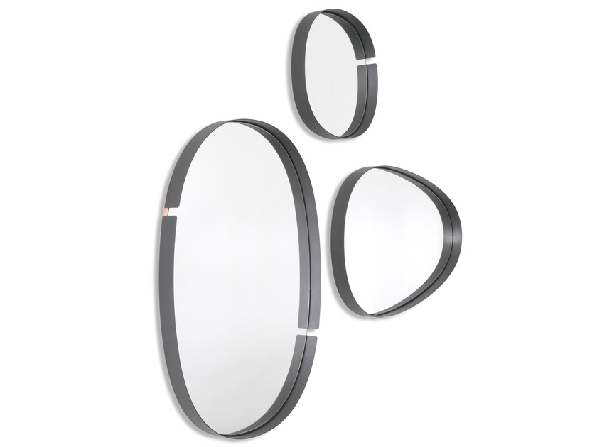 Wall-mounted framed metal mirror LUMIERE by RIFLESSI