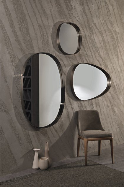 Wall-mounted framed metal mirror LUMIERE - RIFLESSI