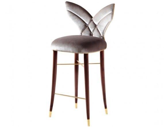 Upholstered fabric counter stool LUNA | Counter stool - Ottiu