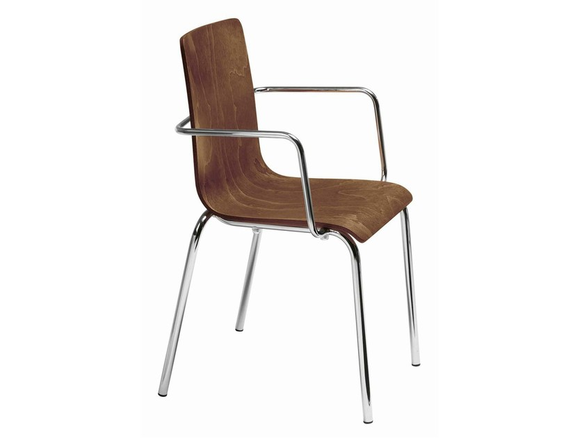 Stackable chair with armrests Luna 106 - Metalmobil