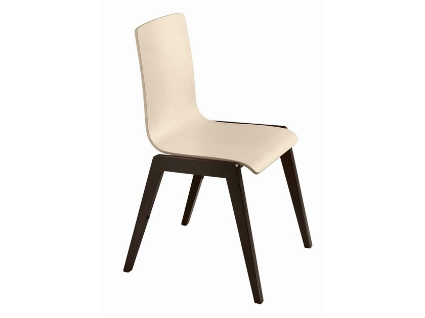 Stackable wooden chair Luna 107 by Metalmobil