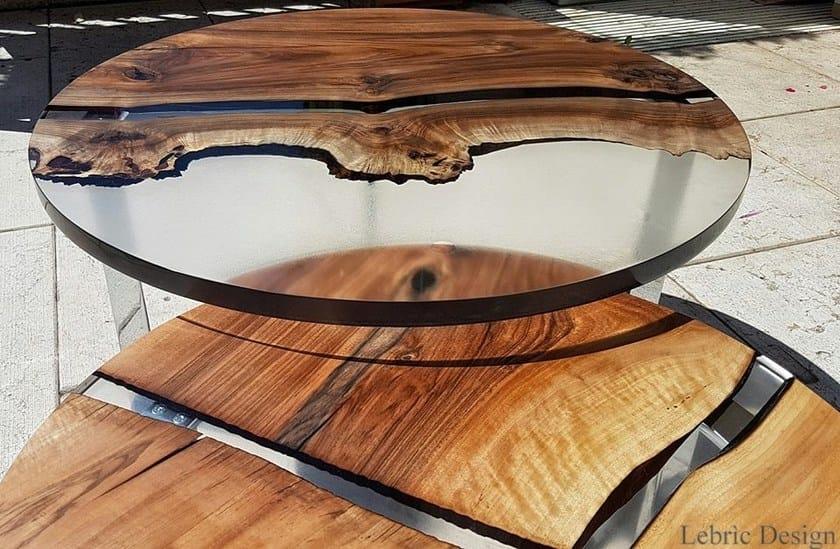 Tavolo da salotto rotondo luna tavolo in resina e legno antico trentino - Tavoli in legno e resina ...