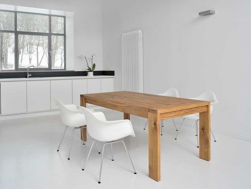 Extending solid wood table LUNGO - vitamin design