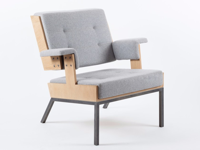 Upholstered fabric armchair with armrests Lounge Chair 2 by Alex de Rouvray