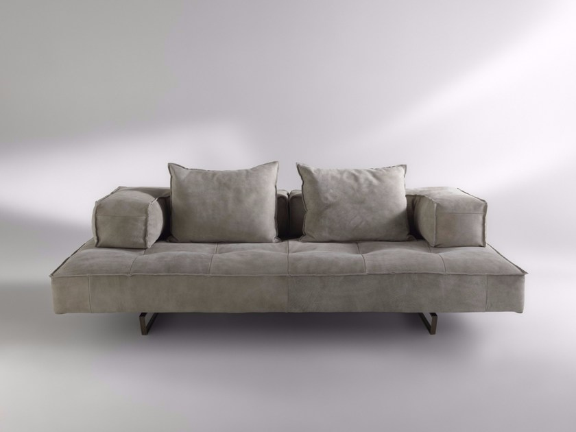 Sled base 2 seater Nabuk sofa M1 | 2 seater sofa by ALBEDO