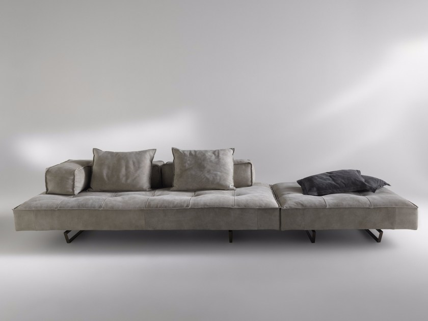 Sled base sectional 4 seater Nabuk sofa M1 | 4 seater sofa - ALBEDO S.r.l. Unipersonale