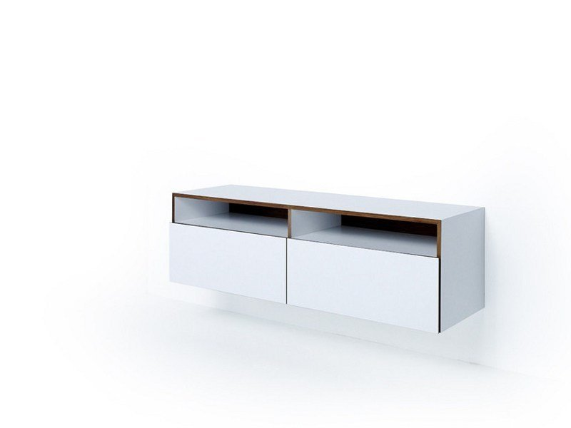 Lacquered suspended wooden sideboard with drawers M1200 | Suspended sideboard by MINT FACTORY