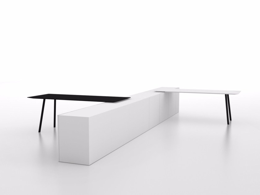 Contemporary style rectangular wood-product peninsula table MAARTEN | Peninsula table - Viccarbe