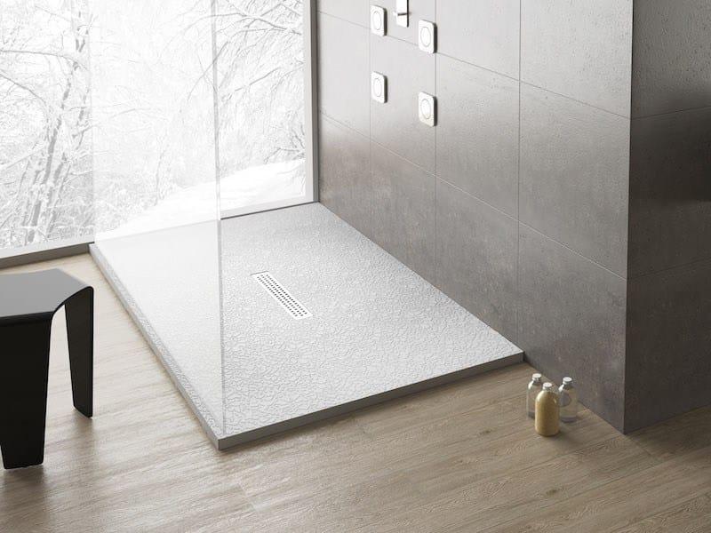 Anti-slip rectangular shower tray MACRAMÈ - Flora Style