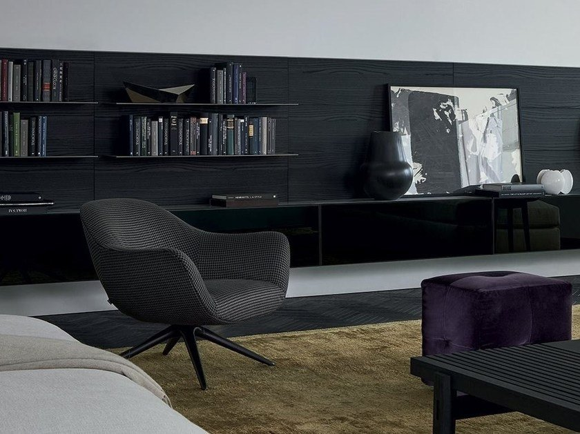 Upholstered trestle-based fabric armchair with armrests MAD CHAIR   Trestle-based armchair by poliform