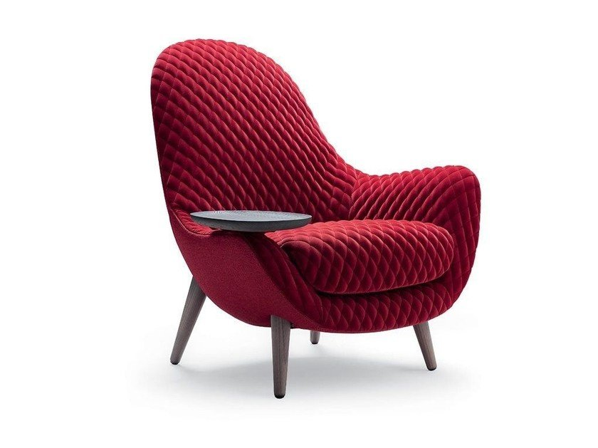 Upholstered fabric armchair with armrests MAD KING - Poliform