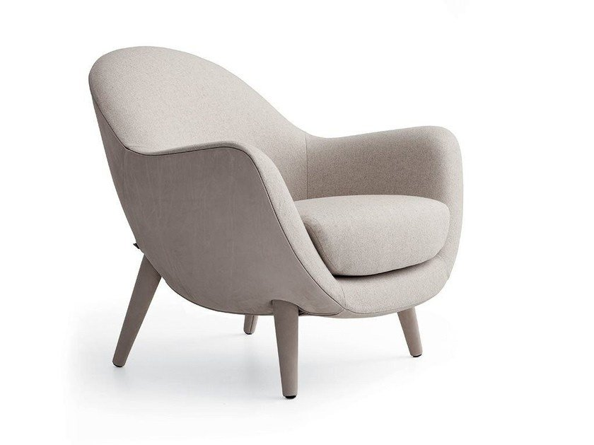 Upholstered fabric armchair with armrests MAD QUEEN - Poliform