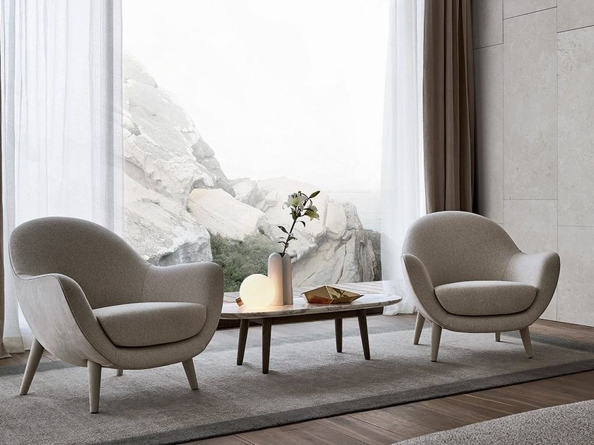 Upholstered fabric armchair with armrests MAD QUEEN by poliform