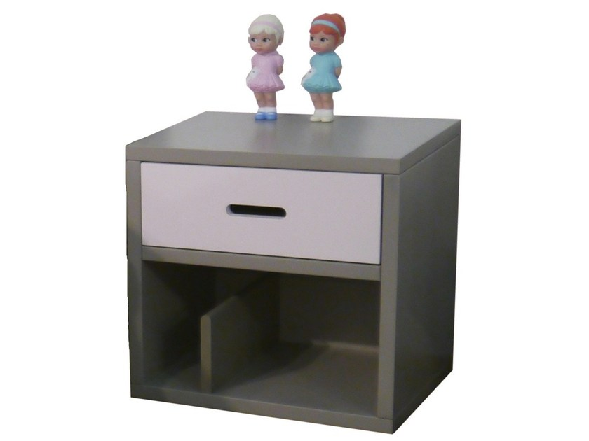 Rectangular bedside table with drawers for kids' bedroom MADAKET | Bedside table - Mathy by Bols
