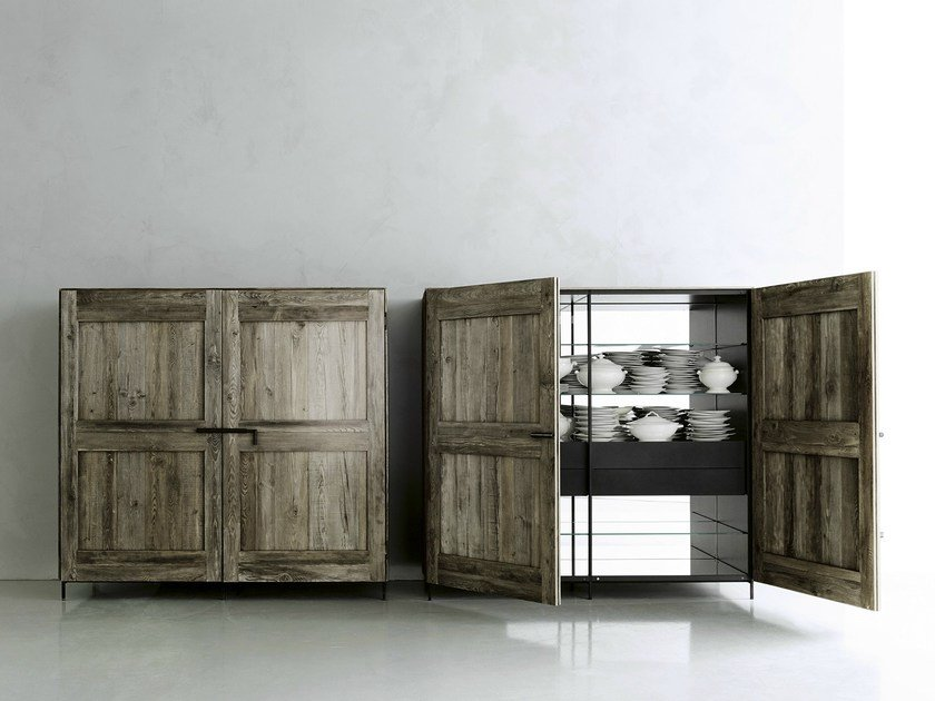 Solid wood highboard with doors MADIA by Boffi