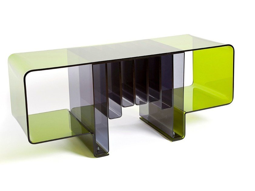 Acrylic TV cabinet / coffee table MAGAZINE RACK by Natalia Geci