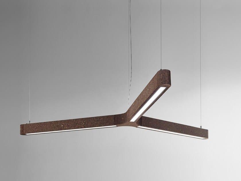 Lampada a sospensione a luce diretta in sughero MAGIC TRIPLE by Exporlux