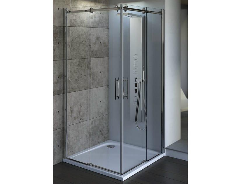 Tempered glass shower cabin with sliding door MAGNUM | Corner shower cabin - Ideal Standard Italia