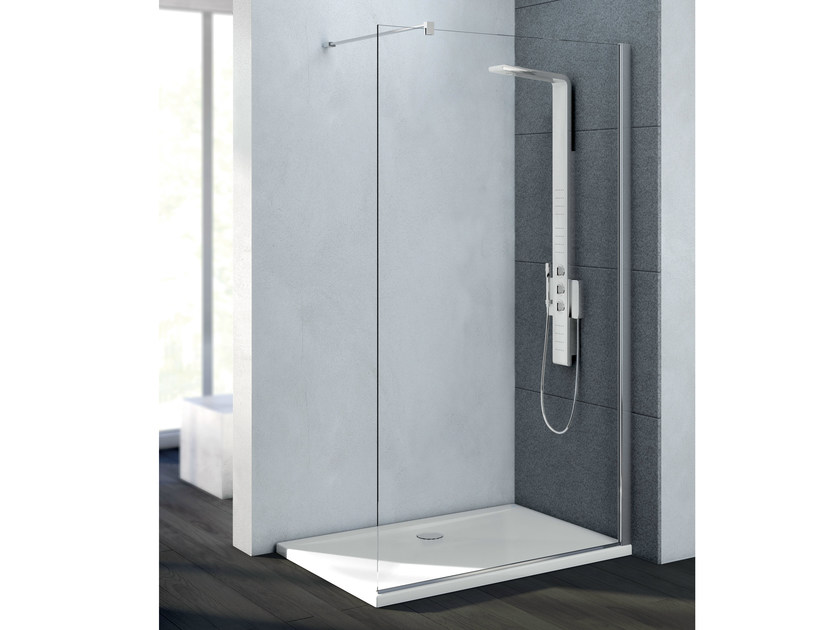 Rectangular tempered glass shower cabin MAGNUM WALK-IN - Ideal Standard Italia